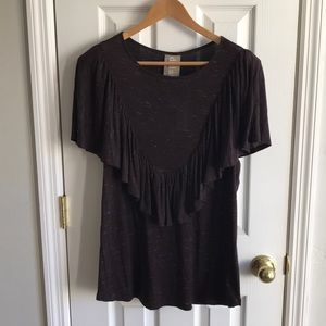 NWT Anthropologie Dolan Marled Ruffle Boho Top